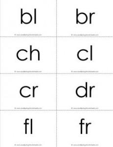 beginning consonant blends flashcards - b-w