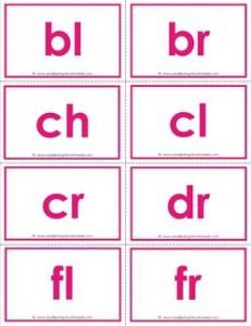 beginning consonant blends flashcards - color