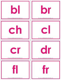beginning consonant blends flashcards - color