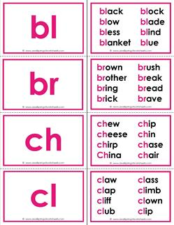 beginning consonant blends flashcards with words