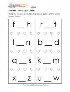 Between - Lower Case Letters - Positional Words Worksheets