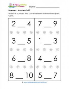 Between - Numbers 1-10 - Positional Words Worksheets