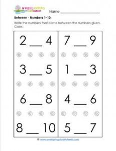 Between - Numbers 1-10 - Positional Words Worksheets