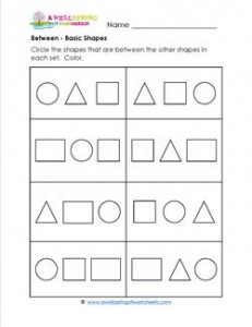 Between - Shapes - Positional Words Worksheets