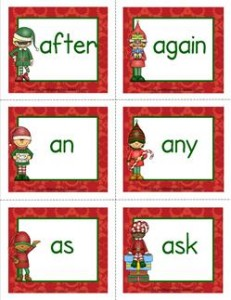 christmas dolch sight word flashcards first grade