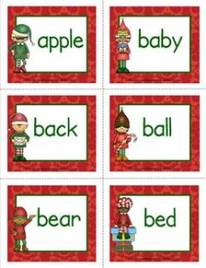 christmas Dolch sight word flashcards nouns