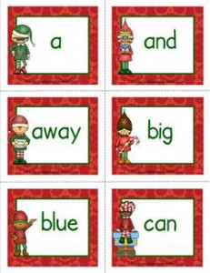 christmas dolch sight word flashcards pre-primer