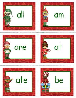 christmas dolch sight word flashcards primer