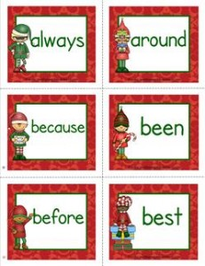 christmas dolch sight word flashcards second grade