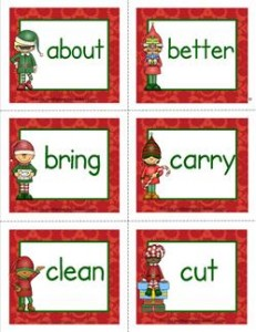 christmas dolch sight word flashcards third grade