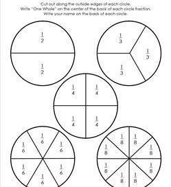 circle fraction cut-outs black and white