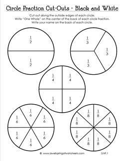 circle fraction cut outs in black and white third grade fractions. Black Bedroom Furniture Sets. Home Design Ideas