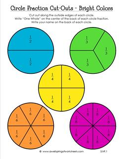 circle fraction cut outs in bright colors third grade fractions. Black Bedroom Furniture Sets. Home Design Ideas