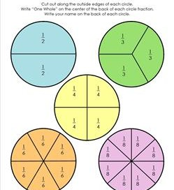 circle fraction cut-outs soft colors