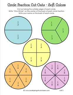 Circle Fraction Cutouts In Soft Colors  Third Grade Fractions