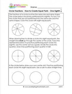 circle fractions - how to create equal parts one eighth