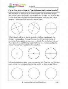 circle fractions - how to create equal fractions one fourth