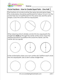 circle fractions - how to create equal fractions 1/2