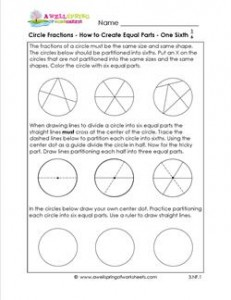 circle fractins - how to create equal parts one sixth
