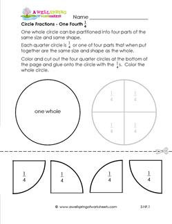 circle fractions one fourth