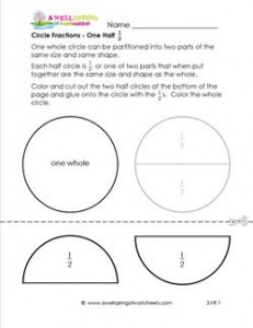 circle fractions one half