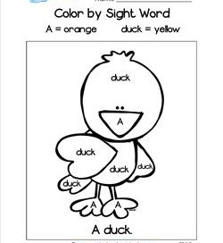 Color by Sight Word - A Duck