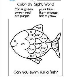 color by sight word can you swim like a fish