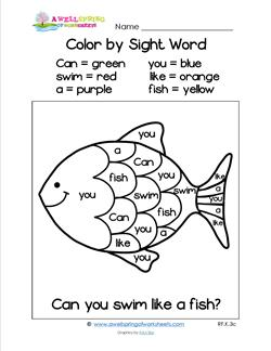 Worksheets Color By Sight Word Worksheets subject a wellspring of worksheets color by sight word can you swim like fish
