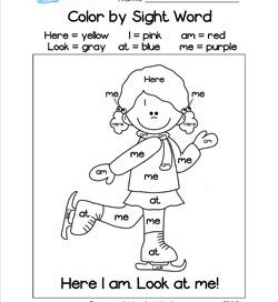 Color by sight word worksheets for kindergarten a wellspring color by sight word here i am look at me ibookread PDF