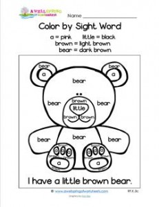 Color by Sight Word - I Have a Little Brown Bear