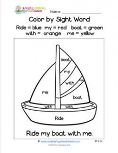 Color by Sight Word - Ride My Boat with Me