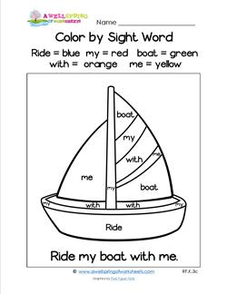 Printables Color By Sight Word Worksheets grade a wellspring of worksheets color by sight word ride my boat with me