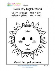 Color by Sight Word - See the Yellow Sun!