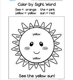 Color by Sight Word Worksheets for Kindergarten | A Wellspring