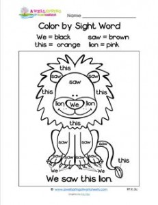 Color by Sight Word - We Saw This Lion