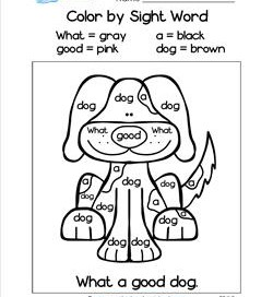 Color by Sight Word - What a Good Dog