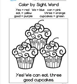 Color by Sight Word - Yes! We Can Eat Three Good Cupcakes