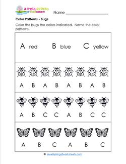 Color Patterns - Bugs - Patterns Worksheets