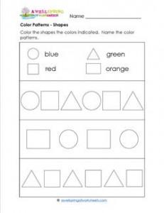 Color Patterns - Shapes - Patterns Worksheets