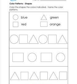 Color Patterns - Shapes - Patterns Worksheets
