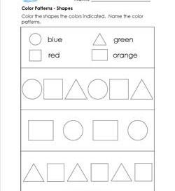 color patterns shapes patterns worksheets - Color Pattern Worksheets