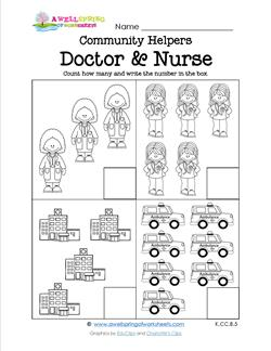 Community Helpers Count How Many - Doctor & Nurse