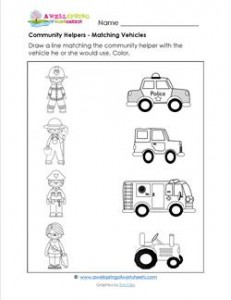 Community Helpers Matching - Match the Helper to the Vehicle