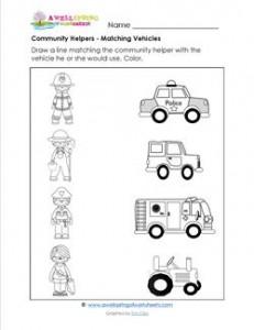 Printables Community Helper Worksheets community helpers worksheets davezan matching vehicles a wellspring
