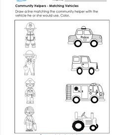Printables Community Helpers Worksheets community helpers worksheets and more a wellspring matching match the helper to vehicle