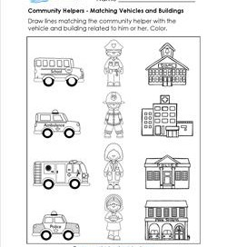 Community Helpers Matching - Match the Helper with a Vehicle and Building