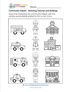 Community Helpers - Matching Vehicles & Buildings
