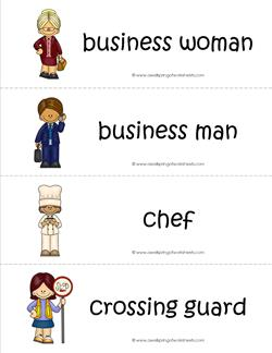 Community Helpers Vocabulary Cards - Business Man & Woman, Chef, Crossing Guard