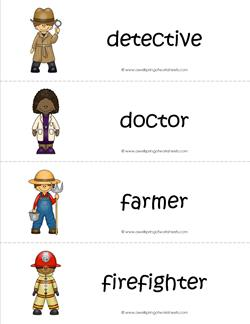 Community Helpers Vocabulary Cards - Detective, Doctor, Farmer, Firefighter