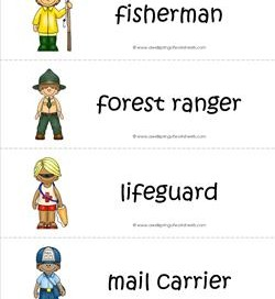 Community Helpers Vocabulary Cards - Fisherman, Forest Ranger, Lifeguard, Mail Carrier